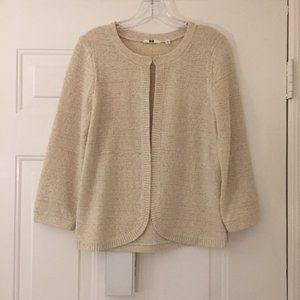 NWOT Uniqlo cream cardigan with gold threads